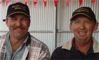 Greg Growden and Gary Lock after their great performance in the Mundulla Hogget competition
